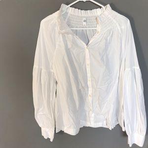 Smock neck white blouse